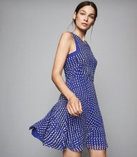 REISS NELLY SPOT PRINTED MINI DRESS BLUE ~ summer sleeveless fit and flare