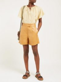 SPORTMAX Nepeta shorts in tan ~ light-brown leather clothing