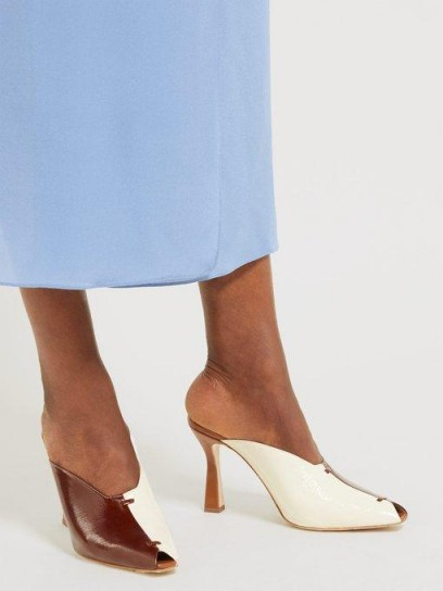 WANDLER Niva bi-colour leather mules in brown and ivory ~ colour block sculptural heels