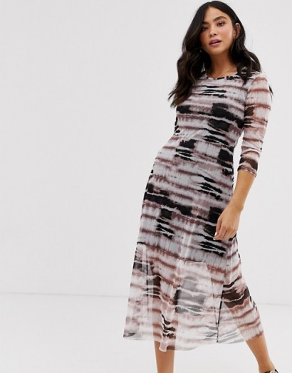 Nobody's Child midi dress in mesh tie dye in purple