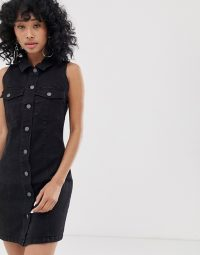 Noisy May button front sleeveless denim mini dress in black | shirt dresses