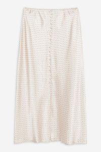 TOPSHOP Nude Spot Button Satin Bias Skirt