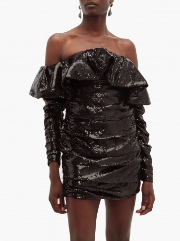 THE ATTICO Off-the-shoulder sequinned mini dress in black ~ glamorous lbd