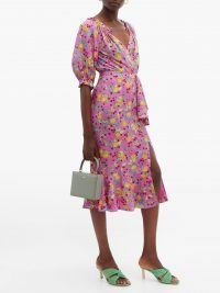 SALONI Olivia lemon-print silk-crepe midi dress in pink ~ frill trimmed summer dresses