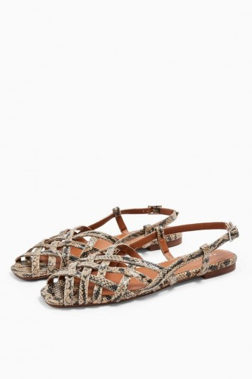 TOPSHOP OLIVIA Strappy Slingback Sandals Natural. REPTILE PRINTS
