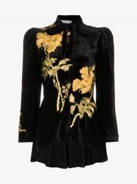 One Vintage Embroidered Velvet Jacket / retro glamour