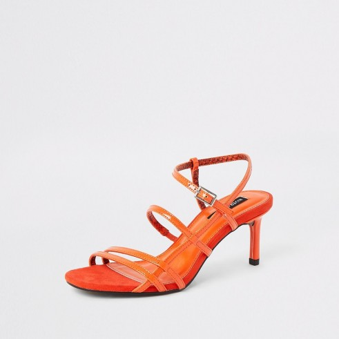 River Island Orange caged skinny heel sandals | bright strappy slingbacks