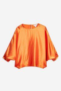 Topshop Boutique Orange Silk Batwing Top | bright fluid blouse