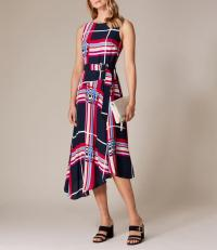 Karen Millen Oversized-Check Maxi Dress / asymmetrical hemline