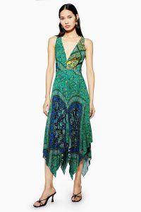 Topshop Paisley Pleat Pinafore Dress Green | deep V-necklines