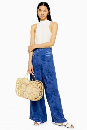Topshop Palm Jacquard Trousers in Petrol | blue wide leg pants