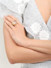 AURÉLIE BIDERMANN Panama gold-plated rock crystal cabochon ring ~ statement rings