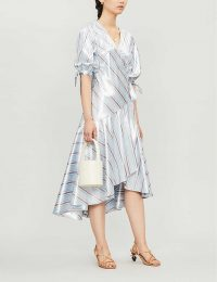 PAPER LONDON Fresia striped crepe midi dress in metallic mirror