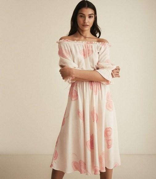 REISS PEACHES FLORAL PRINTED BARDOT MIDI DRESS MULTI WHITE – off the shoulder summer dresses - flipped