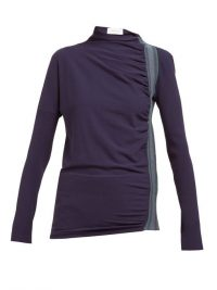 SPORTMAX Pepli top in navy ~ blue ruched sporty clothing