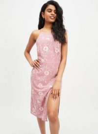 MISS SELFRIDGE PETITE Pink Embellished Midi Dress – luxe style strappy back dresses