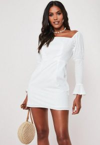 Missguided petite white dobby spot milkmaid mini dress   square neck summer dresses