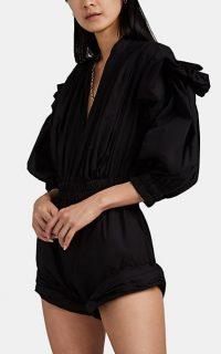 PHILOSOPHY DI LORENZO SERAFINI Cotton-Blend Poplin Romper ~ black ruched playsuit