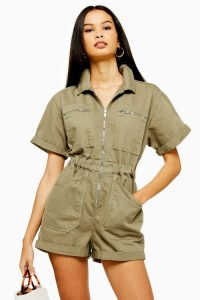 Topshop PHOENIX Khaki Utility Denim Playsuit | green short sleeve playsuits | utilitarian fashion