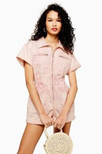 TOPSHOP Pink Acid Wash Playsuit. UTILITARIAN PLAYSUITS. UTILITY FASHION. DENIM