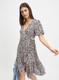 MISS SELFRIDGE Pink Animal Print Frill Wrap Midi Dress – side tie ruffle hem dresses