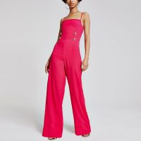 RIVER ISLAND Pink button front wide leg jumpsuit – strappy back jumpsuits