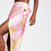 RIVER ISLAND Pink floral wrap skirt – evening luxe