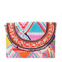 Pink Jacquard Envelope Clutch by Simitri on Wolf & Badger – summery pastel hued jacquard fabric clutch