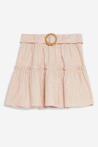 Topshop Pink Linen Blend Tiered Mini Skirt | summer skirts