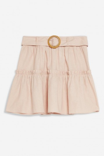Topshop Pink Linen Blend Tiered Mini Skirt | summer skirts