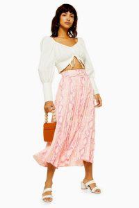 TOPSHOP Pink Snake Pleat Midi Skirt