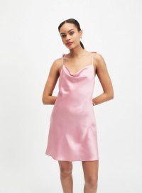 MISS SELFRIDGE Pink Tie Shoulder Slip Dress – cowl neck cami dresses