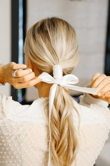Ponytail tied with ribbon