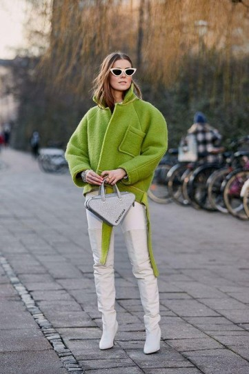 Fresh street style in lime-green and white