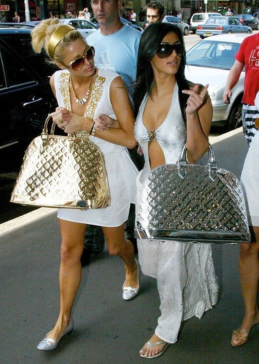 Paris and Kim glam it up / glamorous celebrity street style
