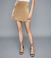 REISS PIPPA POCKET DETAIL SUEDE MINI SKIRT SAND ~ light-brown skirts