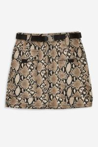 Topshop Pocket Clip Snake Denim Skirt in Natural | reptile print mini
