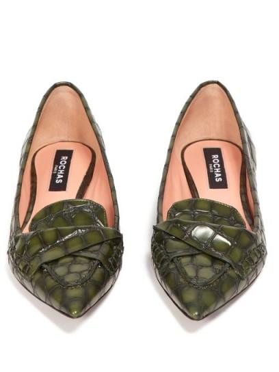 ROCHAS Point-toe crocodile-effect green leather flats