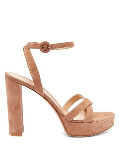 GIANVITO ROSSI Poppy 85 suede platform sandals ~ strappy dusty-pink platforms