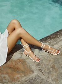 Reformation Porto Sandal in White | strappy summer kitten heels