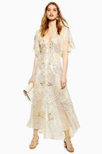 TOPSHOP Premium Embellished Midi Dress Ivory / shimmering occasion dresses