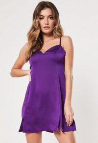 Missguided purple satin cami side split skater dress | mini length slip dresses