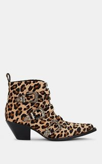 R13 Triple-Buckle Leopard-Print Ankle Boots ~ animal print western boot