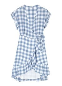 RAILS Brigitte blue checked wrap dress