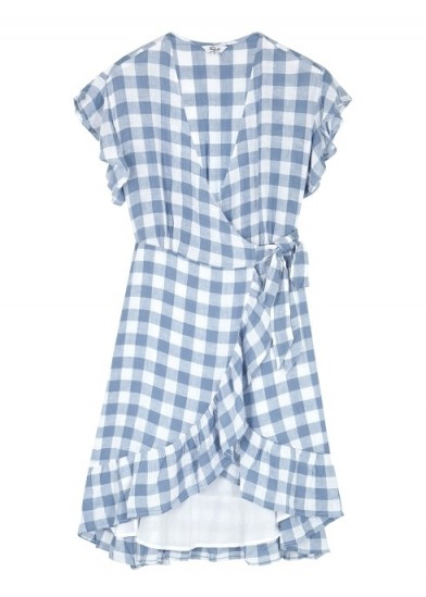 RAILS Brigitte blue checked wrap dress
