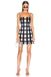 RASARIO Checked Satin Mini Dress Black & White / monochrome checks