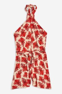 Topshop Red Palm Halter Neck Playsuit | retro summer playsuits