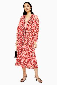 Topshop Red Printed Smock Dress | floral dresses