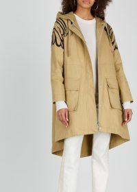 RED VALENTINO Camel embroidered cotton twill parka