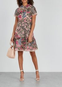 RED VALENTINO Pink floral-embroidered macramé dress